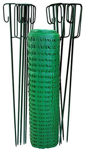 UvV Set 50m Fangzaun, Weidezaun + 10 Absperrleinenhalter grün, Absperrnetz, Maschenzaun, Bauzaun Rolle Kunststoff extrem Reissfest, 240gr (12 kg)