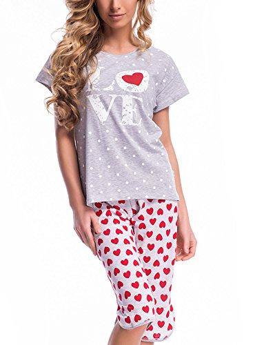 Dobranocka PM.7005 Beau Et Confortable Pyjama gris-rouge