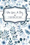 One Line a Day: A 5 Year Diary/Memory Journal - Memoir Book Blue Floral Watercolour