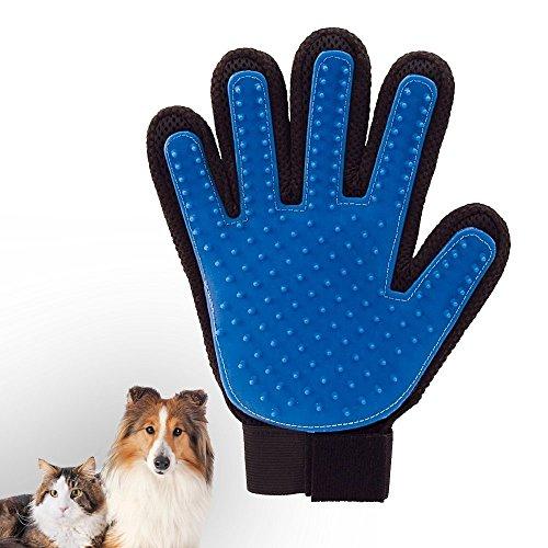 angeloo Pet Bürste Handschuh Hund Katze Fellpflege Handschuh Massage Handschuhe real touch deShedding Handschuh Haar Entferner Bürste (rechte Hand) (Katze Handschuhe)