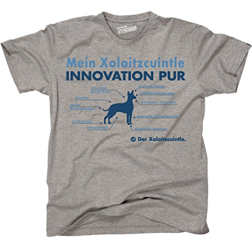 Siviwonder Unisex T-Shirt INNOVATION XOLOITZCUINTLE TEILE LISTE Hunde lustig fun Sports Grey