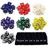 Outee 7 x 7 (49 Pezzi) Dadi Polyhedral 7 Colori 7-Die Serie Dungeons e...