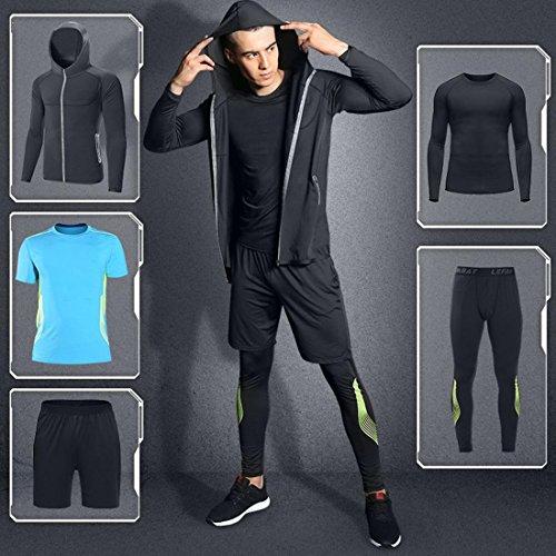 Uomo confortevole elegante abbigliamento sportivo Set 5 pezzi asciugatura rapida traspirante caldo può essere indossato durante tutto l'anno D