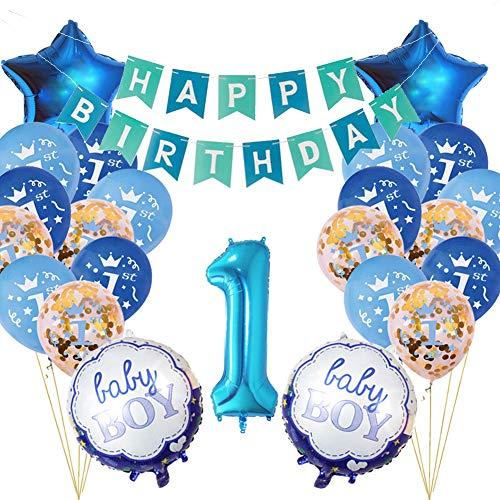 Funmo 1°compleanno decorazioni per neonati, 1st decorazione di compleanno kit di addobbi compleanno baby boy primo compleanno decorazione bimbo palloni gonfiabili - blu