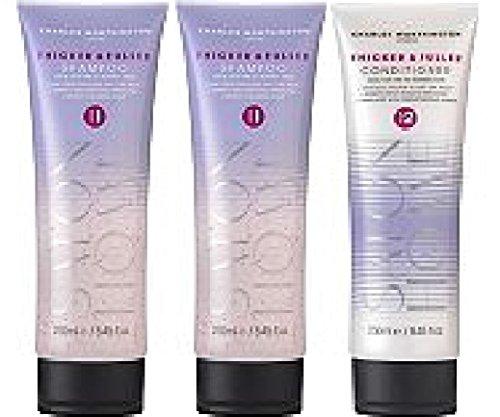 (Lot de 3) Charles Worthington épais et meilleure Shampoing 2 x 250 ml et plus épais et Fuller Après-shampooing X 250 ml * * Livrée dans un double paroi Box * *