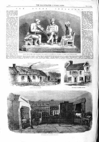 COTTAGE AYR TAM O'SHANTER BRIG DOON ALLOWAY DE 1859 BRÛLURES par original old antique victorian print
