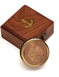 ShalinIndia millésime boussole en laiton de poche inspiré avec la boîte d'affichage en bois - accessoires de voyage - fabriqué en Inde