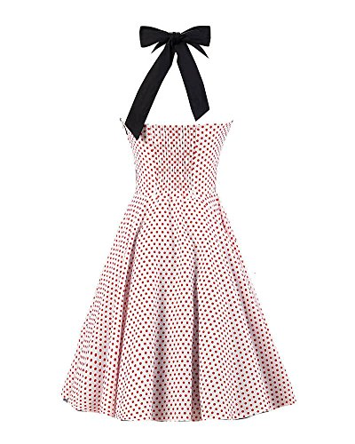 SaiDeng Femmes Chemise Collier Millésime Polka Point Wiggle Robe Comme Image