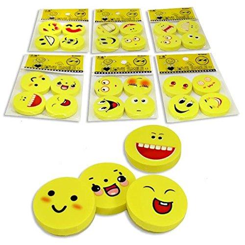 1x Radiergummi-Set, 4 runde Radierer, 2,5cm, mit lustigem Gesicht
