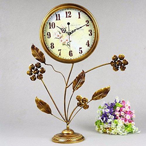 BBSLT Reloj de hierro forjado rústico europeo movimiento silencioso la reja de hierro segundo reloj de péndulo
