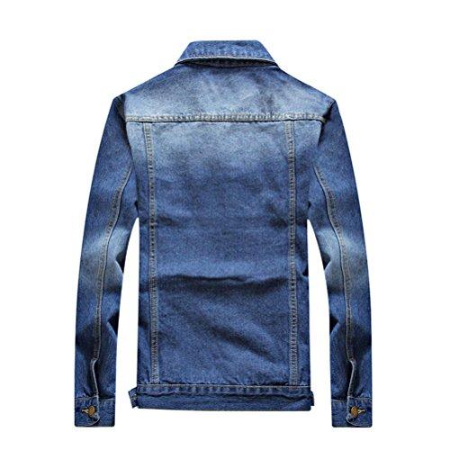 Zhuhaitf Confortable et doux Mens Autumn Classic Long Sleeve Washed Denim Jacket Stylish Slim Fit blue