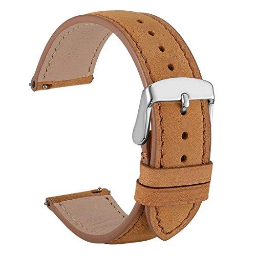WOCCI Wildleder Vintage Leder uhrenarmband - 18mm Quick Release Armband - Herren, Damen Uhrenarmbänder (Hellbraun mit Ton-in-Ton-Naht) (Wildleder Echt Leder Damen)