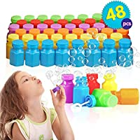 The Twiddlers 48 Piece Mini Party Bubbles for Kids - Great Toys for Childrens Birthday and Christmas Party Bag Fillers Stuffers - Party Favours Lucky Dip Goody Loot Bag Prizes Bulk School Supplies
