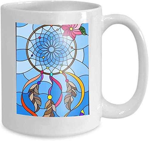 Rael Esthe Taza Personalizada Taza de café Blanco Cerámica 11 Oz ilustración vidrieras Estilo atrapasueños Mariposas Cielo Fondo vidrieras sueño Marca de Agua
