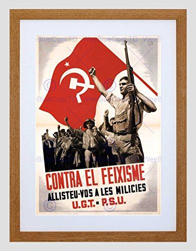 Preisvergleich Produktbild WAR SPANISH CIVIL UGT PSU ANTI FASCIST REPUBLICAN SPAIN FRAMED PRINT B12X2084