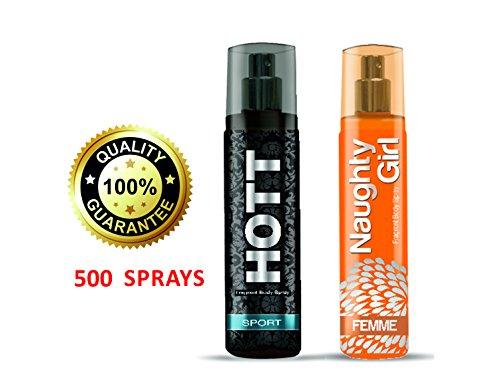 Hott SPORT & Naughty Girl FEMME Perfume Combo For Couple Pack of 2 (Pocket Perfume, 60ML Each)