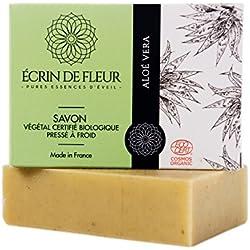 ÉCRIN DE FLEUR - zertifizierte Bio von Ecocert - Aloe-Vera-Seife - Feuchtigkeitsspendende Aloe Vera-Seife angereichert mit ätherischen Ölen - das ungiftige, SLS & chemikalienfreie Seifenstück