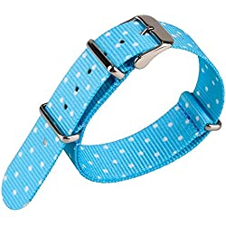Spot Pattern Blue Nylon Fabric Canvas Band Woven Nylon Watch Strap Army Military Watchband 20mm Width