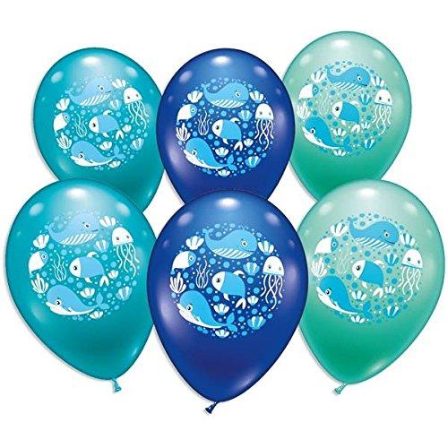 Ballons, mit Unterwasser-Motiv+Meerestieren, 6er Pack, ca. Ø 30cm