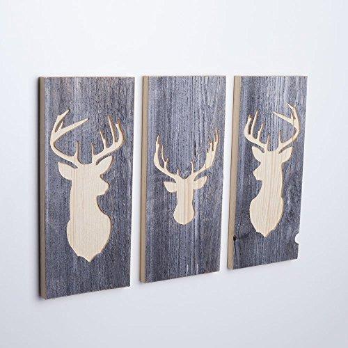 3er Set - Holzbilder mit Hirsch Motiven (Wanddeko mehrteilig aus Holz) Deko Bild handgemacht für...