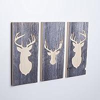 3er Set - Holzbilder mit Hirsch Motiven (Wanddeko mehrteilig aus Holz) Deko Bild handgemacht für die Wand