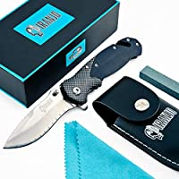 Piranjo Klappmesser - Einhand Outdoor Survival Messer scharf - Taschen Klapp Knife mit Gürtelclip - Scharfes Outdoormesser ideal als Campingmesser, Einhandmesser oder Wandermesser geeignet