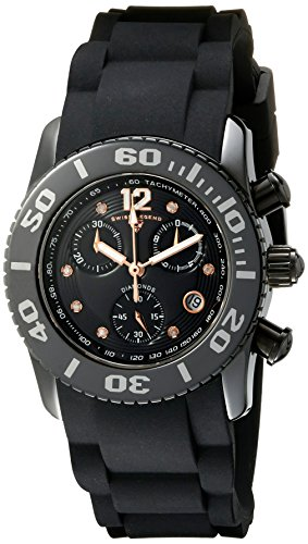 Swiss Legend Women's 10128-01-RA Commander Diamonds Analog Display Swiss Quartz Black Watch