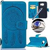 Samsung Galaxy S7 Edge Fleur Coque,Samsung Galaxy S7 Edge Housse en cuir, Etsue Retro Cloche à Vent Fleur Motif Portefeuille en cuir Flip Couverture de case avec Lanière et Carte de Visite Dossier Fonction pour Samsung Galaxy S7 Edge + Cadeaux Gratuit 1 x Cordon + 1 x Bleu stylet + 1 x Bling poussière plug (couleurs aléatoires)-Cloche à Vent Bleu