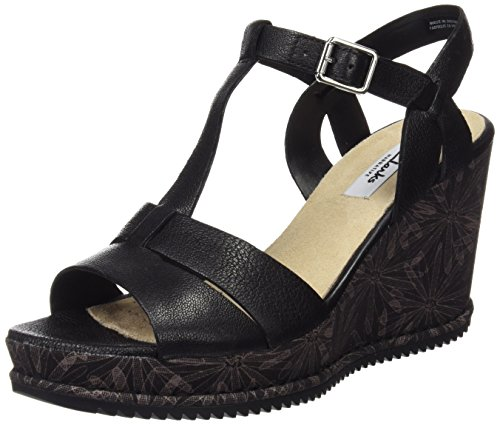 Clarks Damen Adesha River Slingback, Schwarz (Black Leather), 39 EU