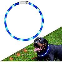 Collar de perro de seguridad LED intermitente collar con USB batería y ajustable Adecuado para tamaño pequeño, mediano y grande perro