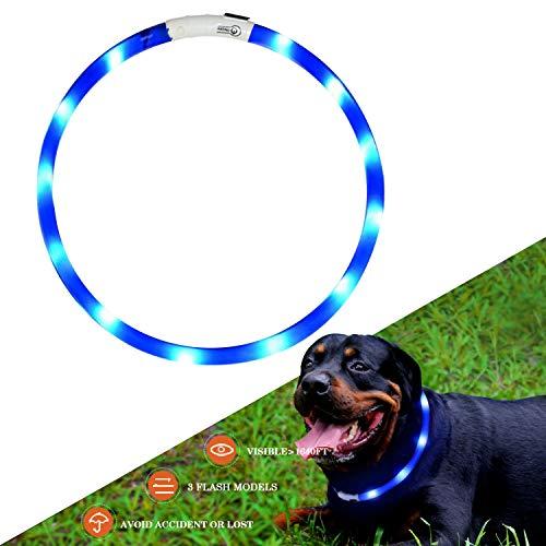 KABB Collare di Cane a LED Lampeggiante con USB Ricaricabile e Misura Small Medium Large da 27.5 Pollici / 70 CM (Blu)