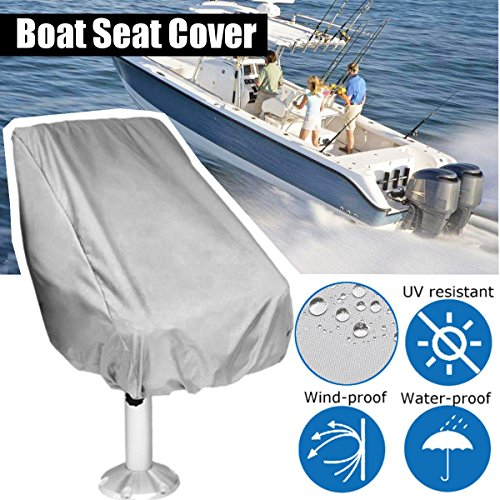 Essort Boat Seat Cover, Bezug für Pilote, Folding Pedestal Boat Chair Cover, Waterproof Pontoon Captain Seat Chair Cover, Polyester UV Resistant, Grey, 56×61×64cm