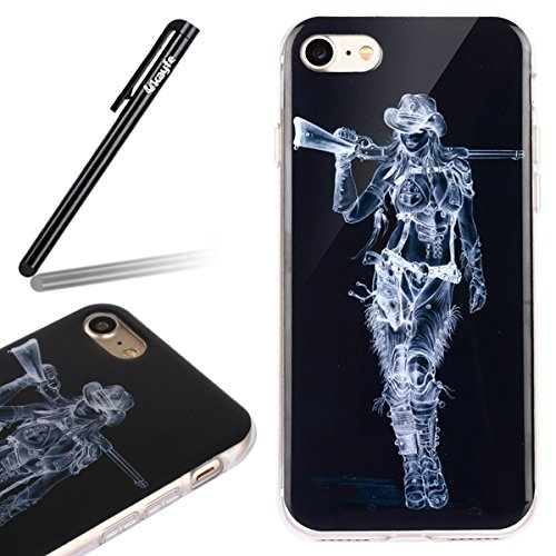 Ukayfe 2 in 1 Custodia per iPhone 6/6S plus 5.5 In TPU silicone e plastica Stilosa Fresco Copertura custodia cassa case protettiva cover bumper per iPhone 6/6S plus 5.5 ,Moda Serie Pattern Back Cover  Carry cowboy pistola