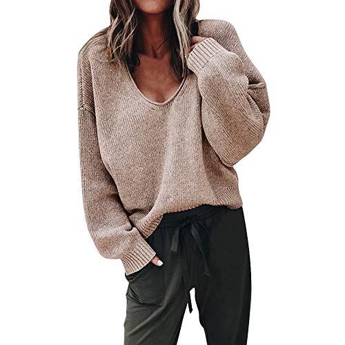 Damen Pullover Oberteile MYMYG Elegante Strickpullover für Damen Herbst Winter Langarm V-Ausschnitt Batwing Übergröße Gestrickte Lose Täglich Party Freizeit(Khaki,EU:40/CN-XL)
