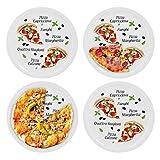 4er Set Pizzateller Margherita groß - 30,5cm Porzellan Teller mit schönem Motiv - für Pizza / Pasta, den 'großen Hunger' oder zum Anrichten geeignet