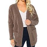 Hanomes Damen Mantel,Damen Mode Einfarbig Cashmere Mantel Casual Strickjacken Winter Warme Sweatshirt V-AusschnittJacke mit Tasche