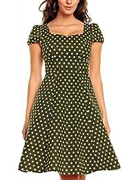 My Evening Dress Robe Vintage Trapèze Longueur Genou à Pois et à Courtes Manches pour Femmes
