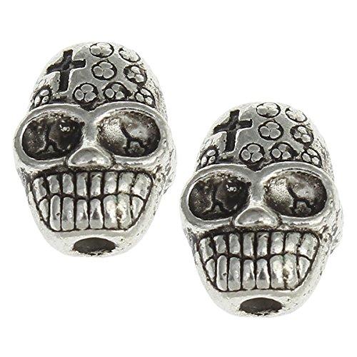 10 Schädel Totenkopf Perlen 10mm Silber für DIY Halskette Armbänder Basteln Schmuck Metallperlen Spacer Zwischenperlen Basteln Schmuck M446
