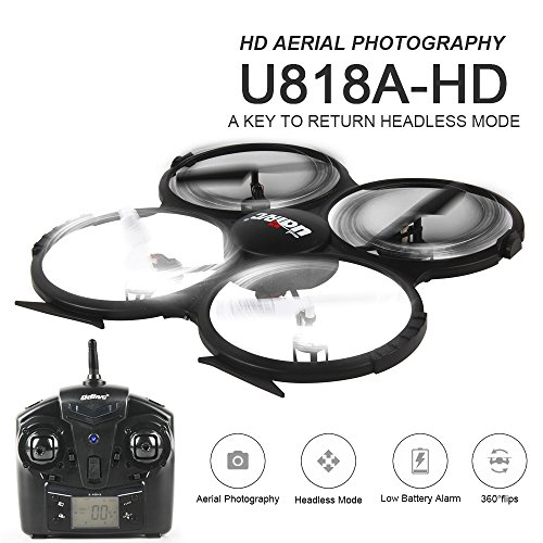 Preisvergleich Produktbild UDI U818A-HD 2.4GHz 4CH 6 AXIS HD Upgrade RC UFO with Battery + Camera 3D Quadcopter Drohne 2.4GHz – with 4GB MicroSD Card