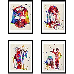 Nacnic Set de 4 láminas para enmarcar Star Wars Estilo Acuarela. Posters con imágenes de la Guerra de Las Galaxias. Decoración de hogar. Papel 250 Gramos Llena de Estilo tu casa