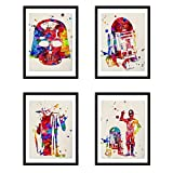Nacnic Set of 4 Sheets for framing Star Wars Style Watercolor Painting. Reproduction with Images of The War of Galaxies. Home Decor. Paper 250 Grams Full of Style Your Home A4