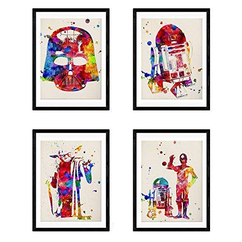 Nacnic Set de 4 láminas para enmarcar Star Wars Estilo Acuarela. Posters...