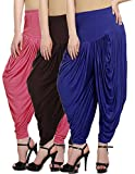 Fashion And Freedom Women's Viscose Dhoti (V_Pink-Brown-Blue__Pink, Brown, Blue_Free Size)