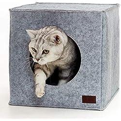 PiuPet® Cuccia per Gatti incl. Cuscino | Adatto p. e. scaffali Ikea® Kallax & Expedit | Letto Comodo in Grigio |