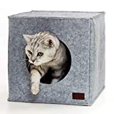 PiuPet® Premium Cat Bed incl. Cushion | Suitable for e.g. IKEA® Kallax & Expedit Shelves | Cats beds in grey | Cozy cat house | Cat basket