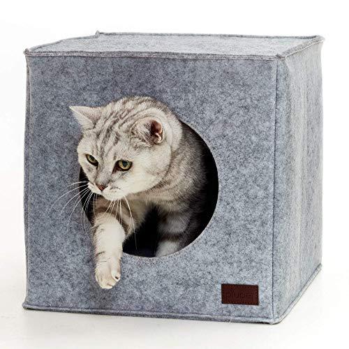 PiuPet® Katzenhöhle inkl. Kissen | Passend für z.B. IKEA® Kallax & Expedit Regal | Kuschelhöhle in grau