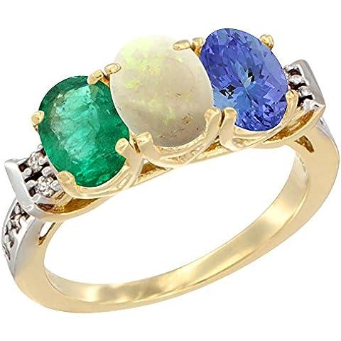 Oro Giallo 14ct naturale smeraldo, opale e