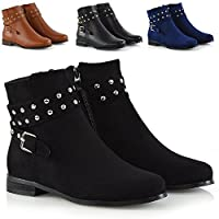 ESSEX GLAM New Womens Ankle Boots Studded Straps Zip Ladies Flat Heel Chelsea Pixie Booties