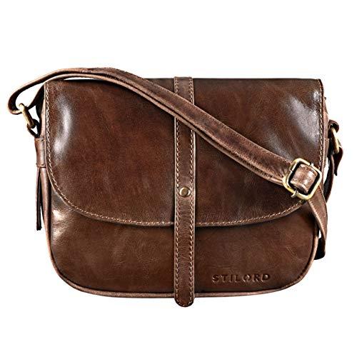 STILORD 'Clara' Kleine Umhängetasche Frauen Leder Vintage Handtasche zum Ausgehen Klassische Abendtasche Partytasche Freizeittasche Echtleder, Farbe:antik - braun -