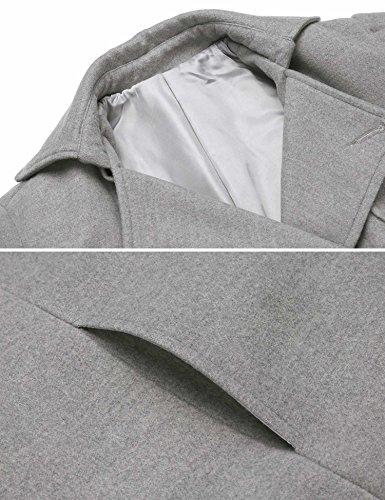 Zeela Damen Herbst Winter Klassischher Zweireihiger Mantel Trechcoat Übergangsmantel mit Taschen und Gürtel Grau